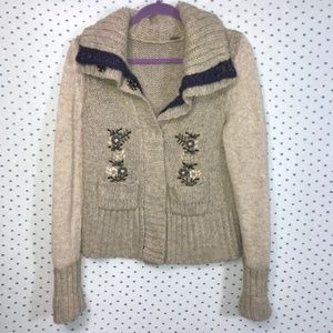 Free People Chunky Cardigan w/ Embroidered Flowers